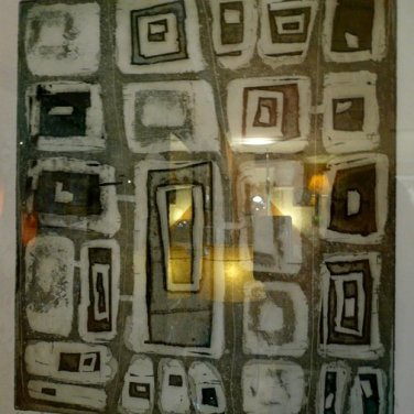 """Where I Live 18"""" x 24""""Etching (hanging on wall with light reflection)circa late 90's"""