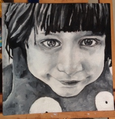 """Seraphina with Ugly Doll - Oil on Canvas - 12"""" x 12"""" © 2014 Holly Troy"""