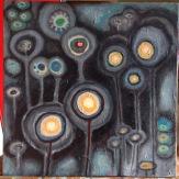 "Moon Flowers - 18"" x 18"", Oil on Canvas © 9/13/15 Holly Troy"