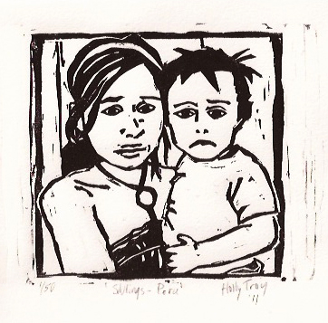 """Siblings - Peru"" - woodcut © 2011 Holly Troy"