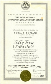 holly troy sivananda certification