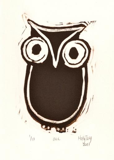 "Owl ~ linocut print 4"" x 6"" edition of 13"