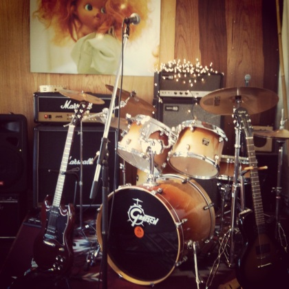 drums, bass, guitar and mics!