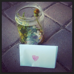 jar of flowers and a love note (c) Holly Troy 2013