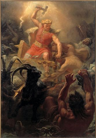 Painting depicting the English god Thunor (the Norse Thor), after whom Thursday is named, by Mårten Eskil Winge, 1872