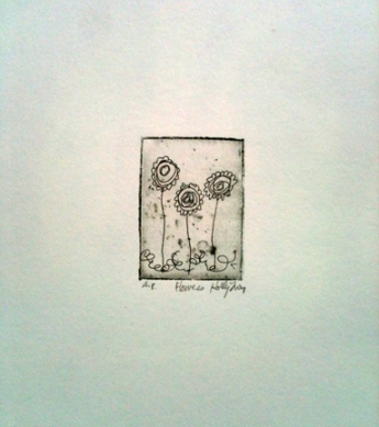flowers etching by holly troy © 2013