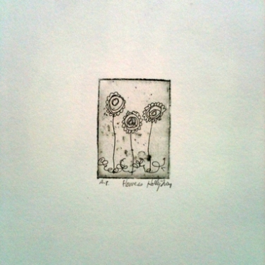 flowers etching © Holly Troy
