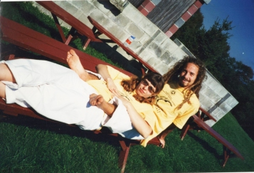 Relaxing with my friend Eric who I met at Yoga Teacher's Training - we are wearing the standard YTT uniform