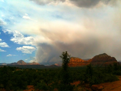 Plumes of smoke from the Slide Fire viewed from Bell Rock in Sedona. May 26, 2014.