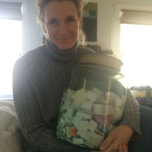 Elizabeth Gilbert with her Happiness Jar.
