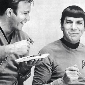 Leonard Nimoy and William Shatner having a break