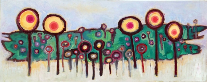 """Summer's End at Forbidden Meadow - Oil on Canvas, 30"""" x 12"""" © - August 25, 2015, Holly Troy"""