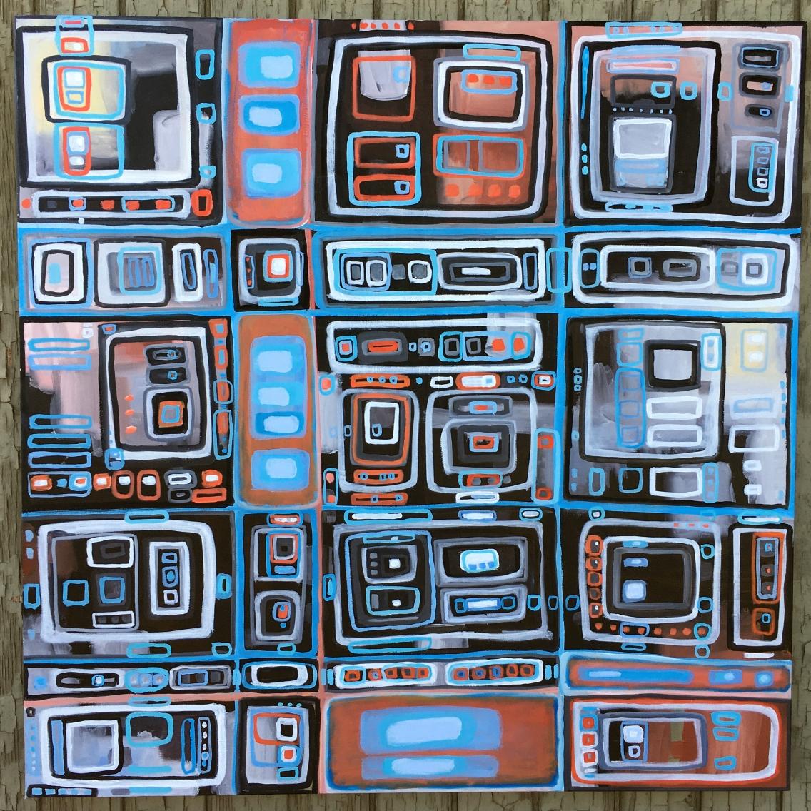 "Sky Pixel 2 ~ Gateway to Enlightenment, oil on canvas, 36"" x 36"""