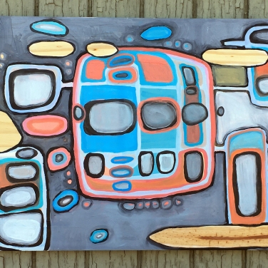 "Sky Pixel 3 ~ Crosstown Traffic, Oil on Wood, 48"" x 17"""