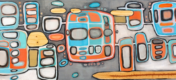 "Crosstown Traffic, 48"" x 17"", oil on wood"