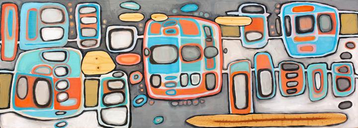 "Crosstown Traffic, 48"" x 17"", oil on wood"
