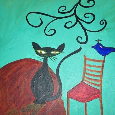 cat and bird - Paul Perreault - awfully good art colleciton