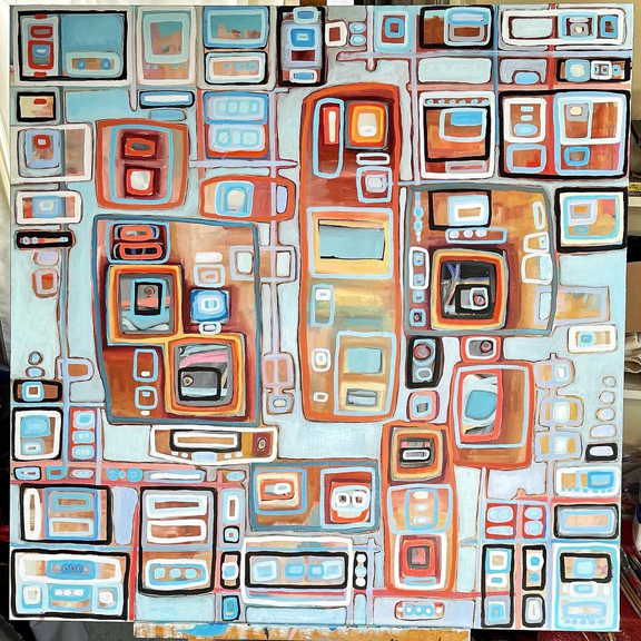 downtown beat by Holly Troy 36 x 36 inches oil on canvas © Holly Troy