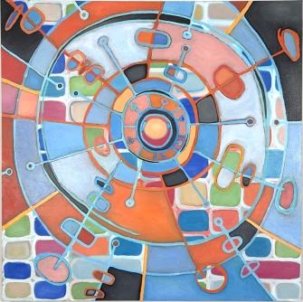 "Cosmic Clock, 36"" x 36"", oil on canvas"
